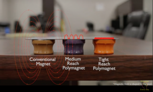 The reach of the polymagnets can be tailored. Screenshot from the video by smartereveryday.